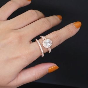 Jewelry - Beautiful Oval Rose Gold Cubic Zirconia Ring Set